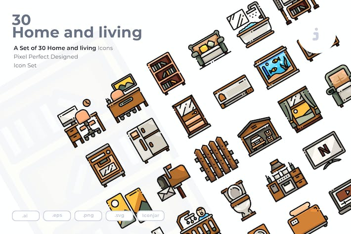 Thumbnail for 30 Home and living Icons