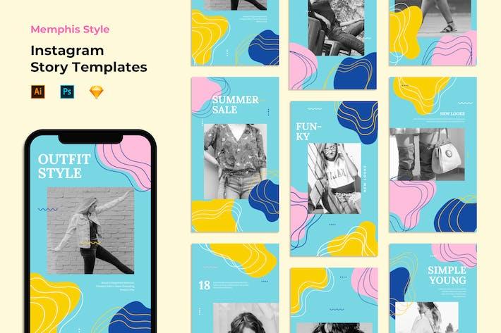 Thumbnail for Шаблоны истории Instagram - Стиль Мемфиса