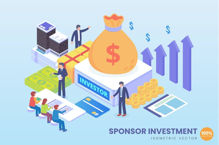 Thumbnail for Isometric Sponsorship Investment Vector Concept
