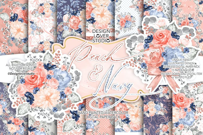 Cover Image For Watercolor Peach and Navy digital paper pack