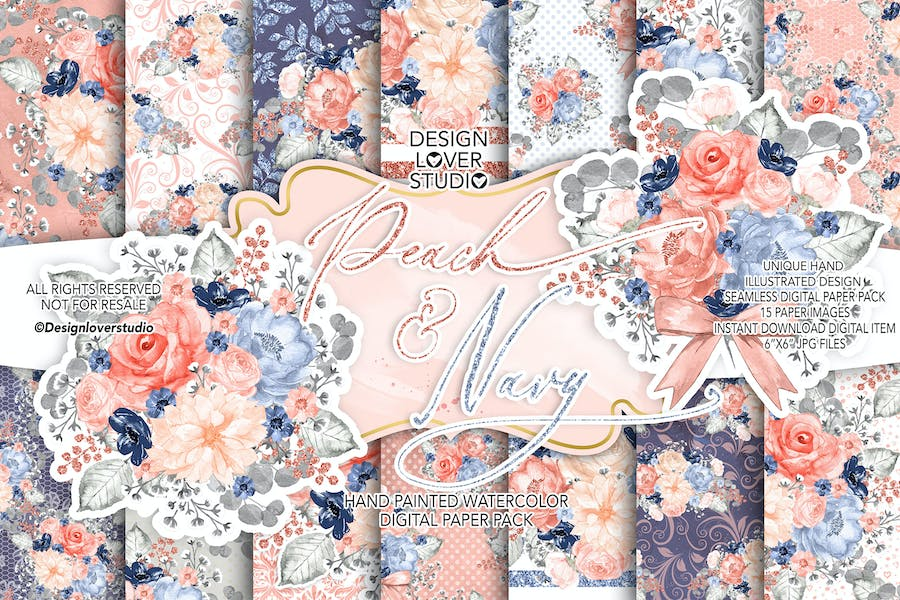 Watercolor Peach and Navy digital paper pack