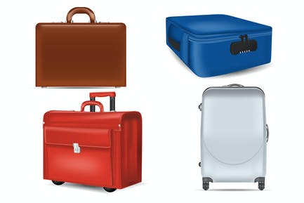 Realistic Travel Suitcases Mockups