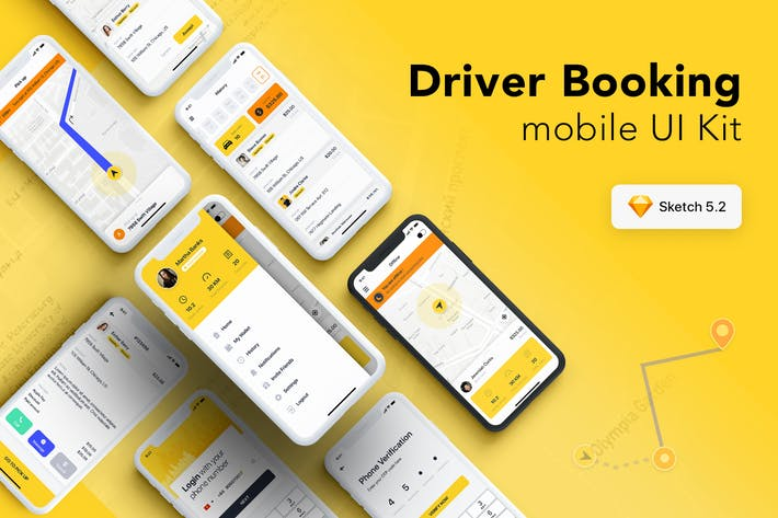 Thumbnail for Taxi Driver Booking UI Kit for SKETCH
