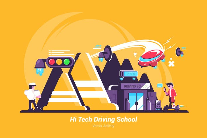 Thumbnail for Hi Tech Driving School - Vector Illustration