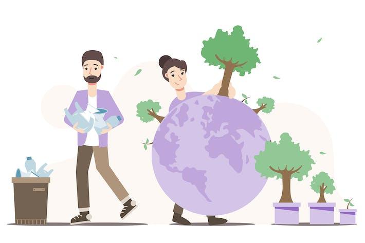 Earth Conservation - Flat Illustration