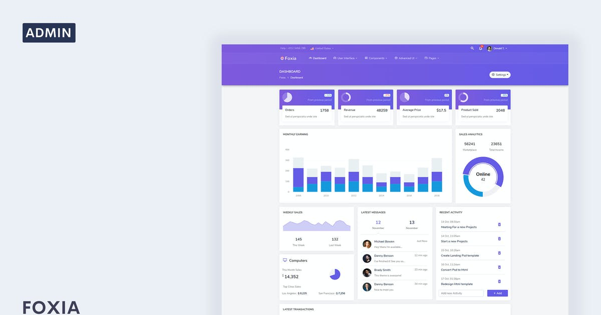 Download Foxia - Admin & Dashboard Template by Themesbrand