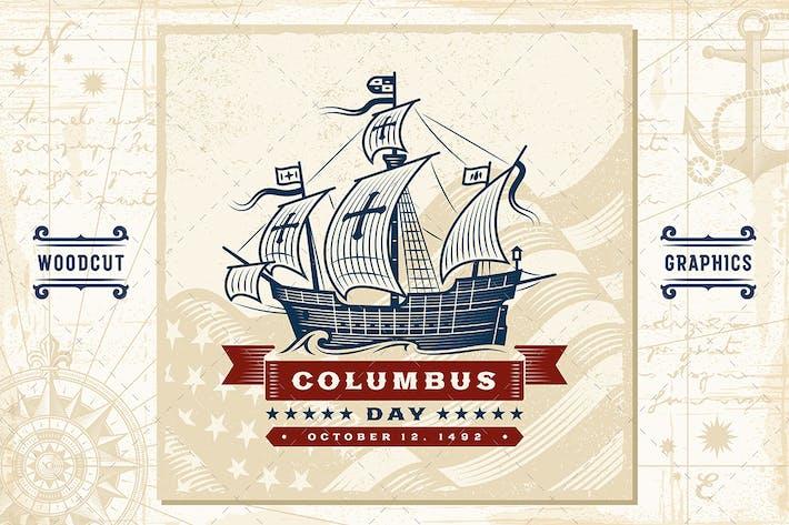 Thumbnail for Vintage Columbus Day Label