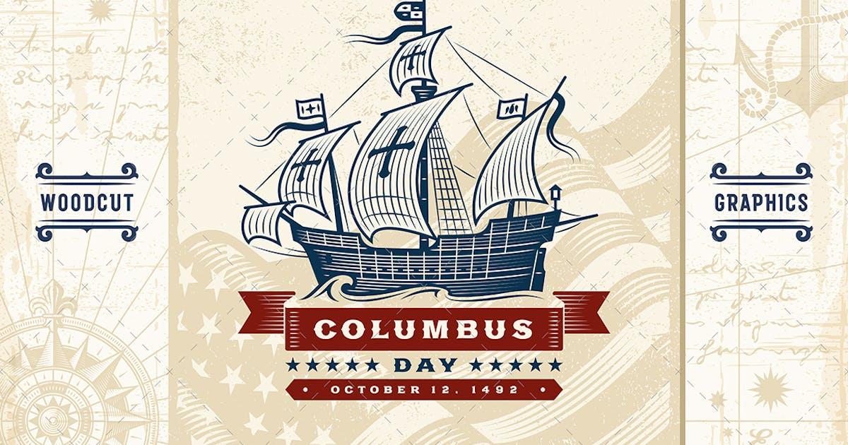 Download Vintage Columbus Day Label by iatsun