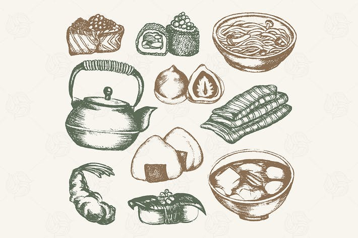 Thumbnail for Japanese Food - color hand drawn illustration
