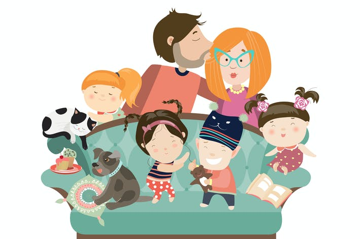 Thumbnail for Happy kids with parents and pets. Vector