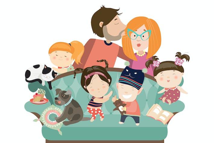 Thumbnail for Счастливые дети с родителями и домашними животными. Вектор