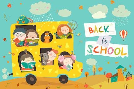 Niños de camino a la escuela. De vuelta a la escuela.
