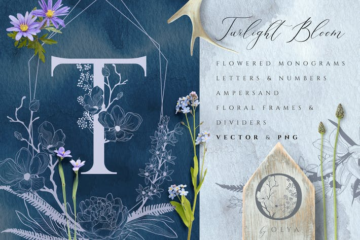 Thumbnail for Blumen Monogramme & Elemente