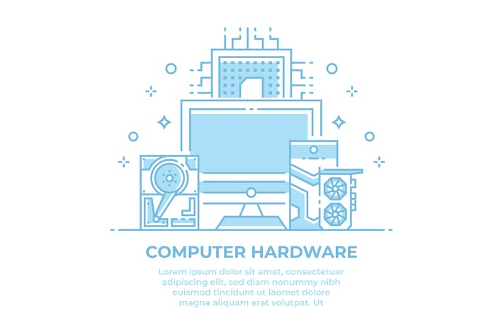 Thumbnail for Computer Hardware Linear Illustration