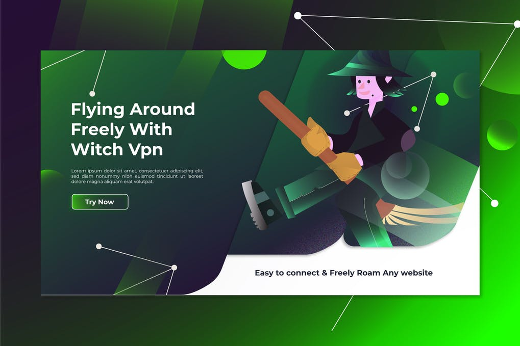 Witch Vpn Landing Page Illustration in udemy ux