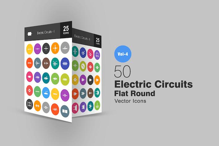 Thumbnail for 50 электрических цепей плоские круглые Иконки