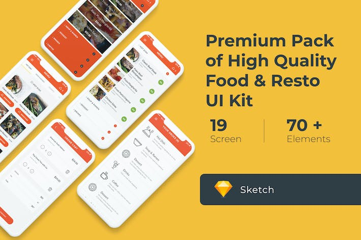 Thumbnail for Food and Resto UI KIT for Sketch