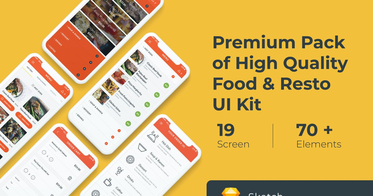 Download Food and Resto UI KIT for Sketch by WPBootstrap