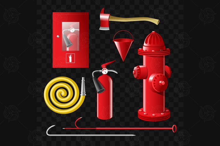 Thumbnail for Firefighting equipment - set of vector objects
