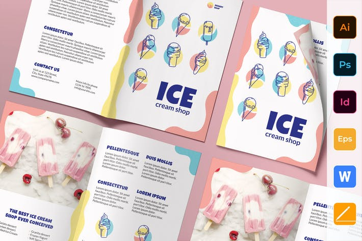 Thumbnail for Ice Cream Shop Brochure Bifold