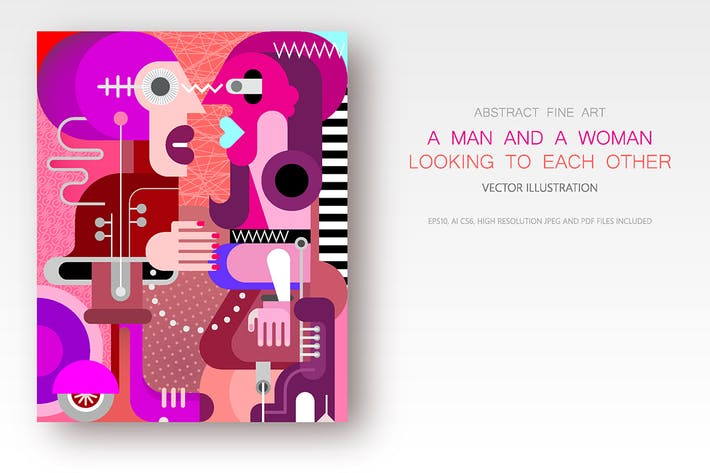 Thumbnail for Man and Woman looking at each other vector artwork
