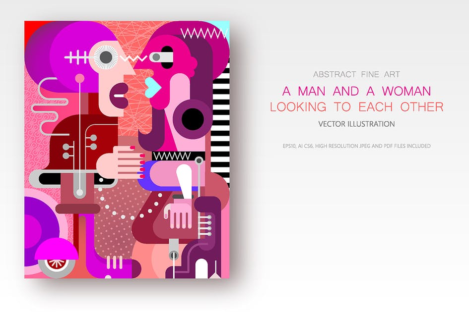 Download Man and Woman looking at each other vector artwork by danjazzia