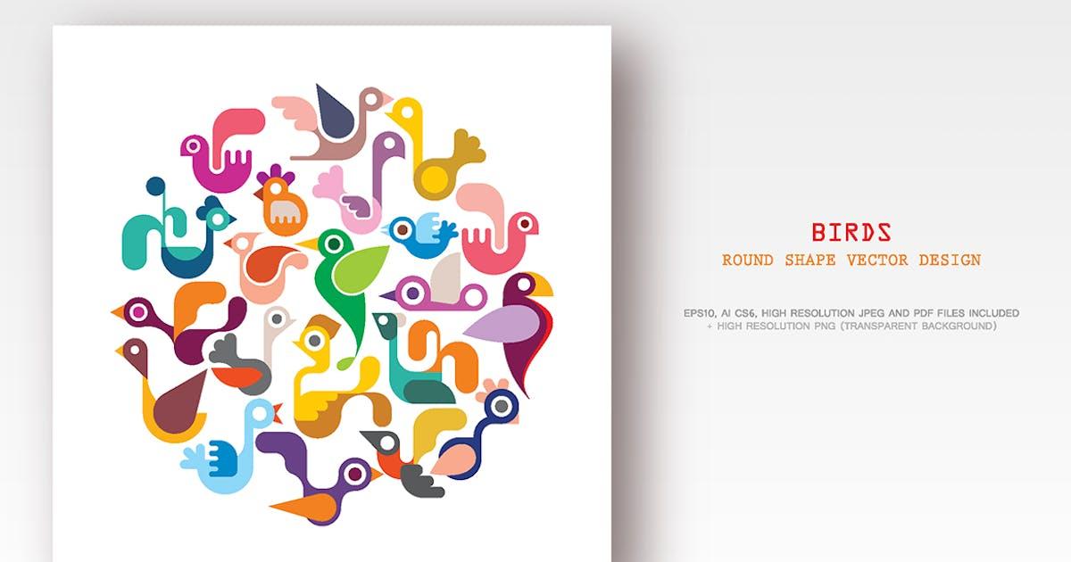 Download Birds round shape vector illustration, icon set by danjazzia