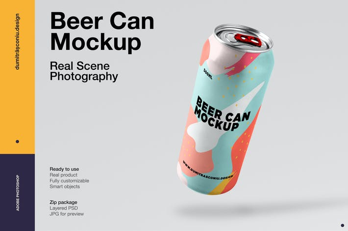 Thumbnail for Beer Can Mockup - Real Scene