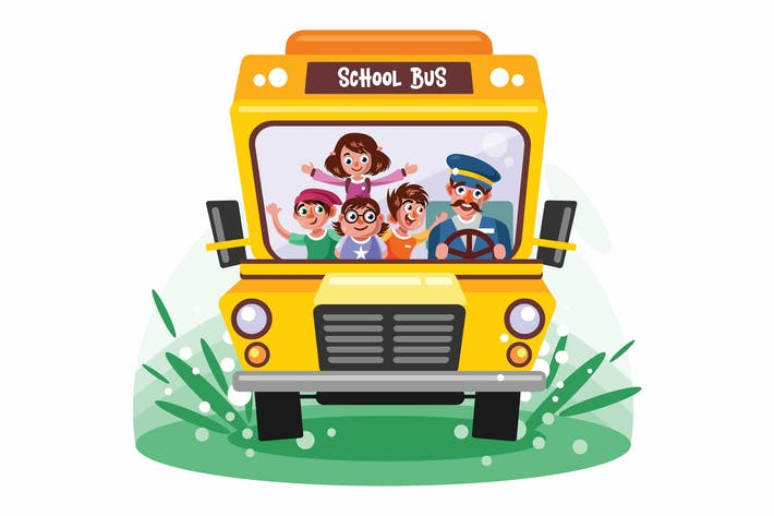 Thumbnail for Kids Riding School Bus Vector Illustration