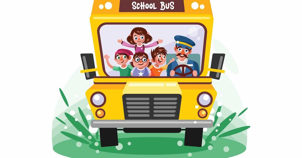 Download Kids Riding School Bus Vector Illustration by IanMikraz
