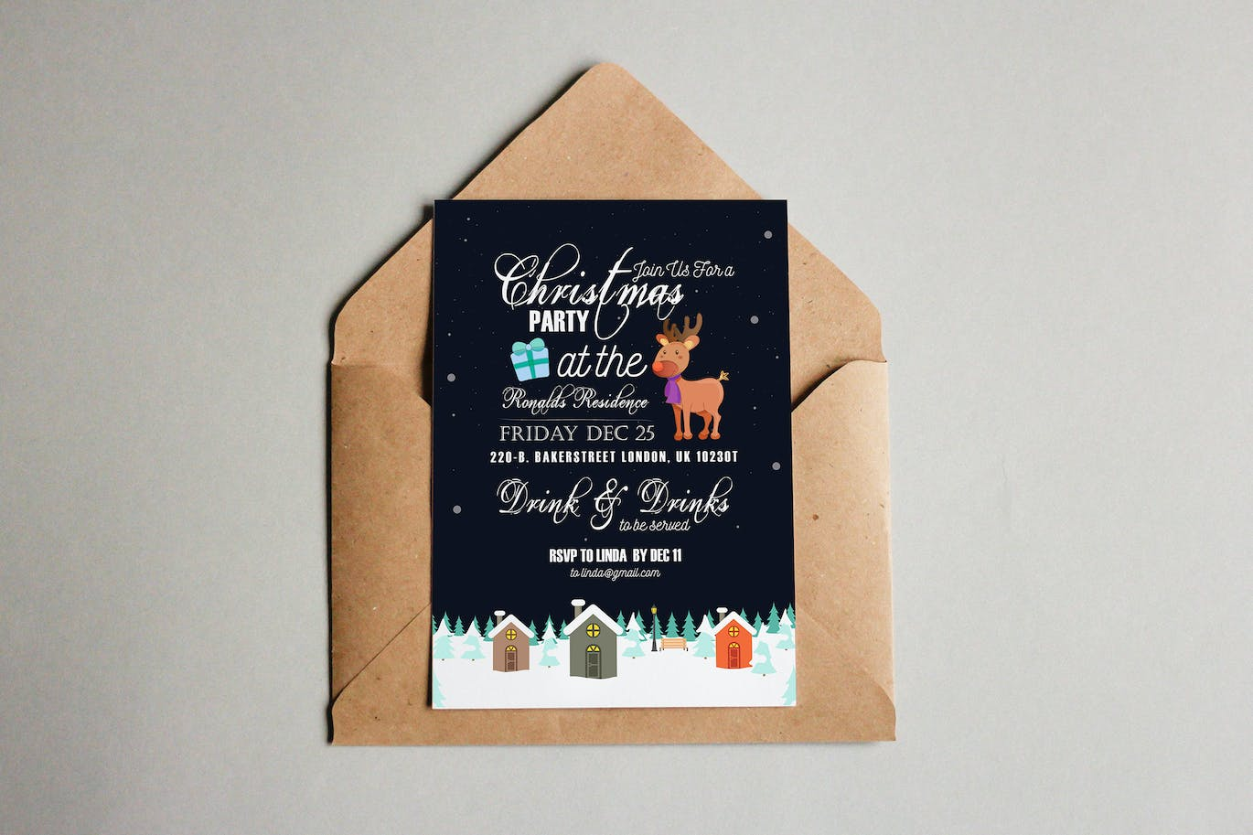 christmas party invitation card by squirrel on envato elements christmas party invitation card
