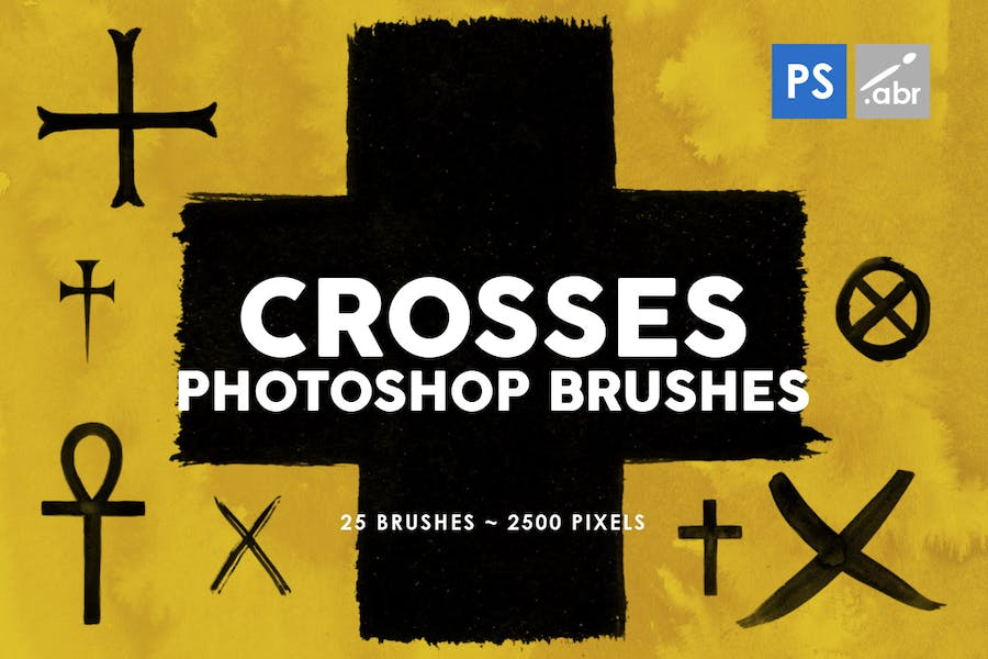 25 Crosses Photoshop Stamp Brushes