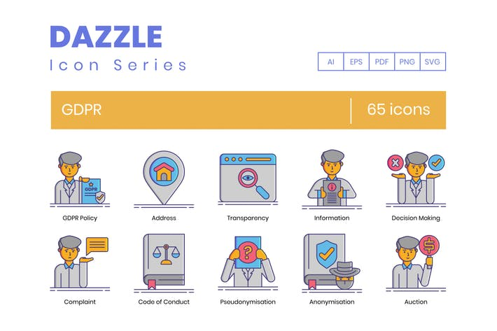 Thumbnail for 65 GDPR Icons - Dazzle Series