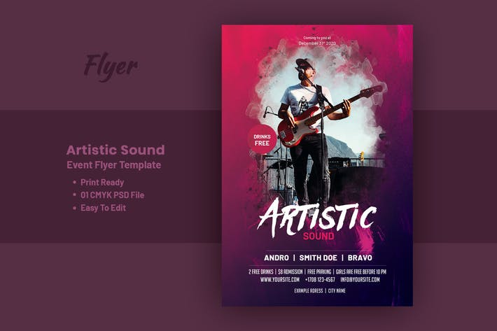 Thumbnail for Artistic Sound Event & Party Flyer Template