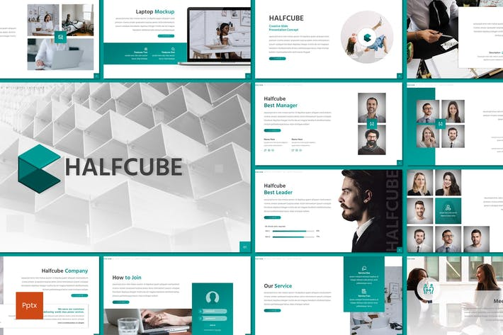 Thumbnail for Halfcube - Business Powerpoint Template
