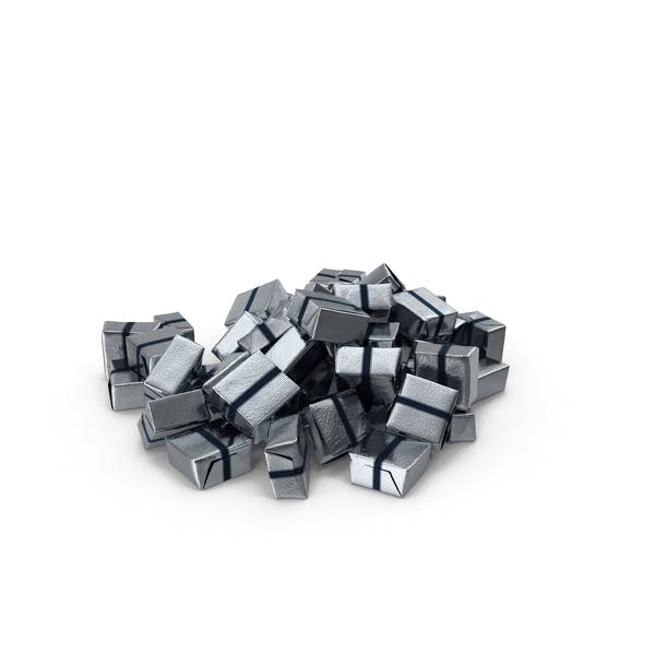 Pile of Wrapped Square Chocolate Candy