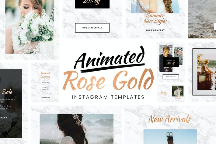 Thumbnail for Animated Rose Gold Instagram Templates