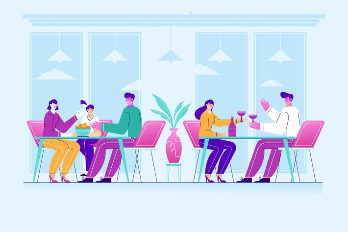 People Eating in a Restaurant Vector Illustration