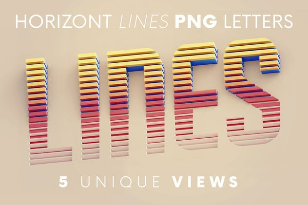 Horizontal Lines - 3D Lettering