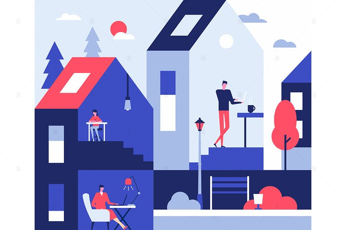 Thumbnail for Stay at home - flat design style illustration