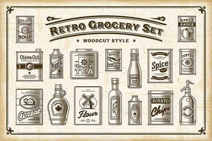 Cover Image For Retro Grocery Set. One Color