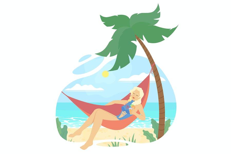 Chica en una hamaca descansando en la playa.