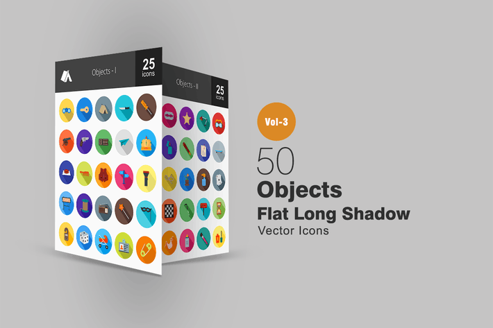 Thumbnail for 50 Objects Flat Shadowed Icons