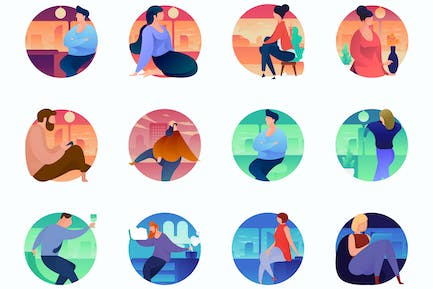 Home Curvy People Concept Illustrations