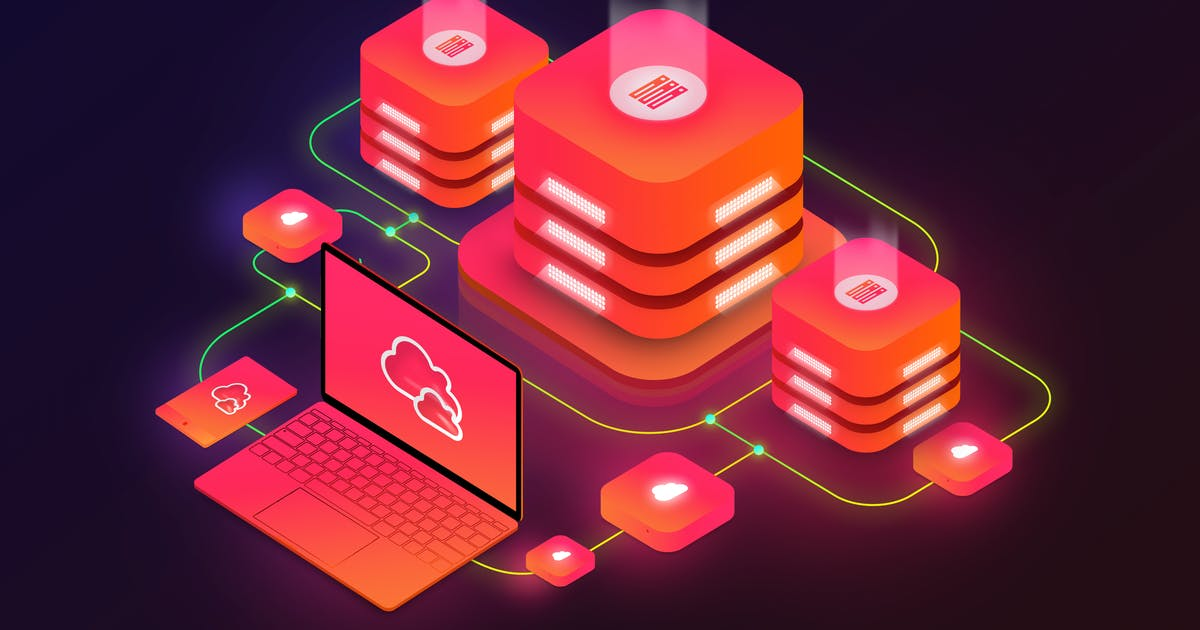 Download Isometric Cloud Server Illustration by BooStock