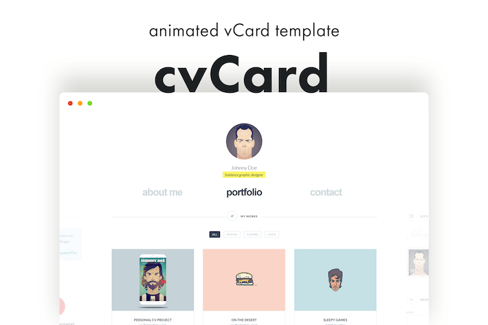 Thumbnail for cvCard - Animated vCard Template