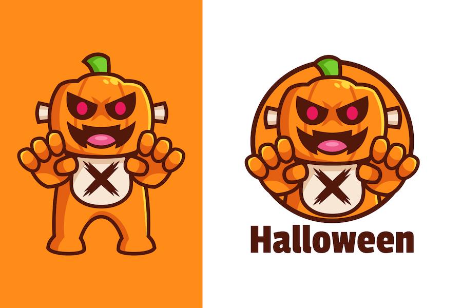 Scary Halloween Pumpkin Cartoon Character