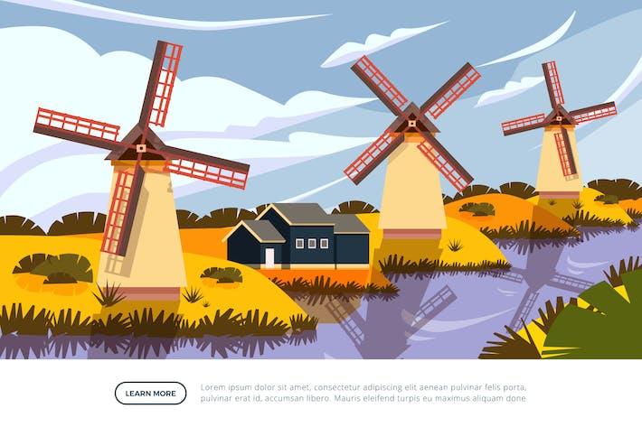 Thumbnail for Kinderdijk Windmill - Famous Landmark Illustration