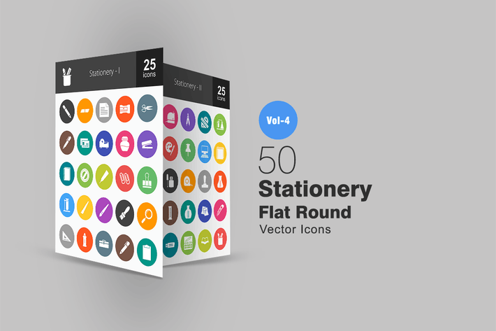 Cover Image For 50 Stationery Flat Round Icons