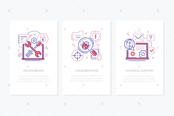 Cover Image For Computer service - line design style banners set